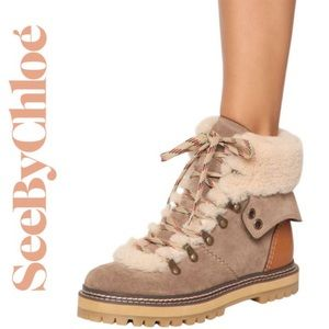 NIB See by Chloe Eileen Flat Shearling Hiker Ankle Chunky Boots 35 5